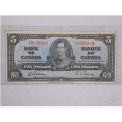 1937 Canada Bank of Canada $5.00. (F) (G/T) (D/T)