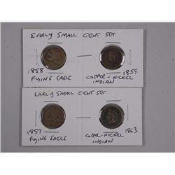4x USA Early Small Cent Coins 1857, 1858 Flying Ea