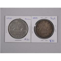 2x 1950 Canada Silver Dollar, Full Waterline and S