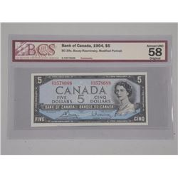 Bank of Canada 1954 - $5.00 M.P. 'BCS'. (AU-58) Or