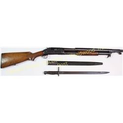 "Winchester 1897 12 ga. SN 95524 takedown trench gun, standard 20"" barrel and bayonet, left side rece"