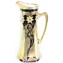 "Large Art Noveau handled vase marked Picard on bottom, 15"" tall, overlaid in gold and silver motif."
