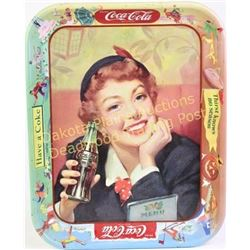 "1950's Coke ""Thirst Knows No Season"" serving tray showing fine condition, 13"" tall.  Est. 75-125"