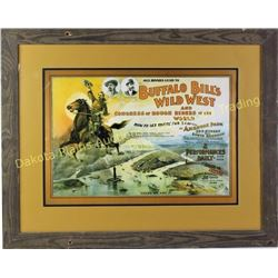 "Reproduction Buffalo Bill Cody Wild West poster in barnwood frame, 26"" X 33"".  Est. 50-100"