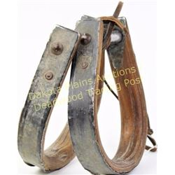 Early pair bentwood stirrups matching, show good condition.  Est. 25-50