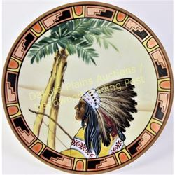 "Hand painted Nippon porcelain hanging plate with scarce Indian Chief pattern, 8"" diameter with green"