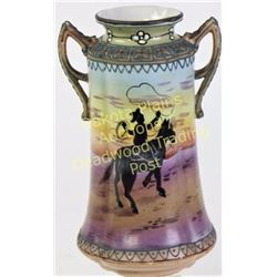Fine hand painted Nippon vase double handled with silhouette cowboy scene showing wonderful colors a