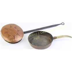 Collection of 2 includes antique copper pan with unusual antler handle and copper bed warmer with ha