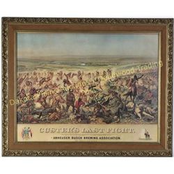 "Nicely framed print of Custers Last Fight image 20"" X 26"".  Est. 100-175"