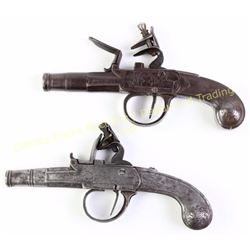 Collection of 2 all steel antique flintlock pocket pistols, one marked London Segias approx. 36 cal