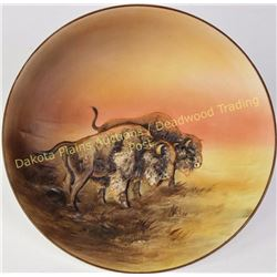 "Rare hand painted Nippon molded raised relief buffalo plaque, 10 1/2"" diameter with green Nippon M i"