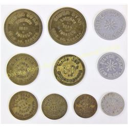 Collection of 10 trade tokens includes 9 Silver Star Bar Lead, SD.  Est. 150-300