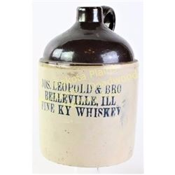 Antique advertising whiskey jug from Jos. Leopold & Bro Belleville, Ill Fine Ky Whiskey in once gall