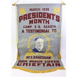 Large wool banner 1936 for fraternal society of Woodmen of the World, originally founded in 1883, Ca