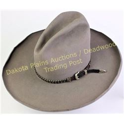 Classic old high peak cowgirl hat with rolled brim, pen signed above sweat band Ruth Evans and W.C.