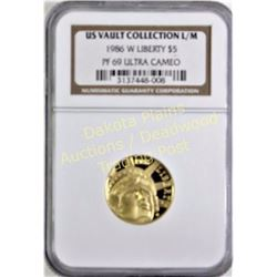 1986 W Liberty $5 gold coin PF 69 Ultra Cameo.  Est. 250-450