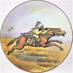 Scarce pattern hand painted Nippon wall plaque with shooting American Indian on horseback in high re