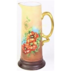 "Large Royal Bavarian tankard with hand painted floral, gold applied handle and rim, 13"" tall. Nice l"