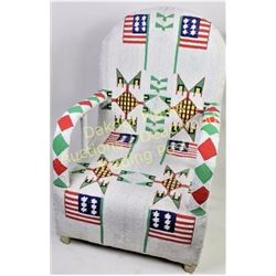 Interesting fully beaded arm chair in Sioux style geometric patterns and pictorial American flag mot