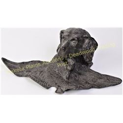 Large brass Labrador hunting dog inkwell with hinging top the laid out bird forming the pen tray uns