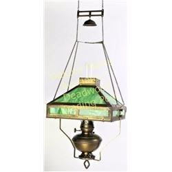 Complete and original hanging kerosene lamp 4 panel green slag glass shade marked Success PBL and Co