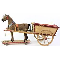 "Victorian horse and cart childs pull toy in fine original condition 15"" X 28"".  Est. 200-400"