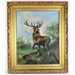 "Original oil on canvas of Bull Elk unsigned, ornate gold gessoed frame, image 17"" X 21"".  Est. 150-3"