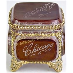 "Ruby red Chicago Worlds Fair 1933 glass jewelry casket, 2 1/2"" square, excellent condition.  Est. 25"