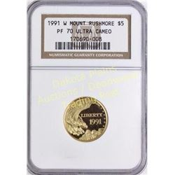 1991 Mount Rushmore gold $5 coin PR 70 Ultra Cameo.  Est. 250-450