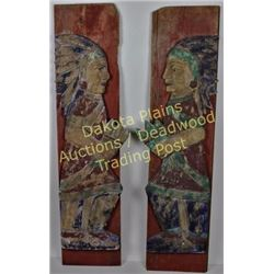 Collection of 2 left and right wood carvings of Cigar Indians with distressed finish, applied to boa