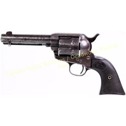 "Antique Colt SAA .38 cal. SN 161945 revolver 4 3/4"" barrel, blued finish with Rampant Colt hard rubb"