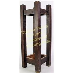 Arts & Crafts oak umbrella stand with copper hand hammered drip pan.  Est. 100-200