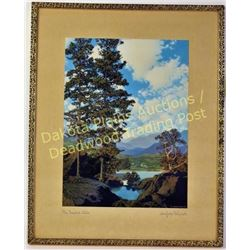 "Beautiful Maxfield Parrish original art print ""They Templed Hills"" C. 1940 with stunning color and f"