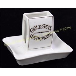 "Nippon Gold Seal Champagne advertising match holder ashtray marked on bottom, 3 1/2"" tall. NO chips,"