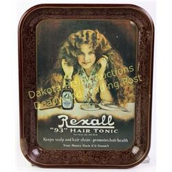 "Original Rexall 93 Hair Tonic advertising tray with great graphics, 10 1/2"" X 13"".  Est. 50-100"