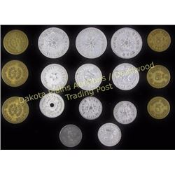 Collection of 16 Silver Star Bar Saloon tokens Lead, SD.  Est. 75-175