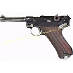 "Luger DWM 9mm SN 290 dated 1916 with 4"" barrel, checkered walnut grips showing very good as refinish"