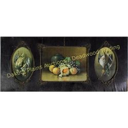 "Large framed three panel depicting fowl and fruit with applied carvings C. 1900, 18"" X 42"".  Est. 75"
