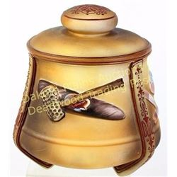 Fine hand painted Nippon tobacco jar with lidded top showing excellent original condition.  Est. 150
