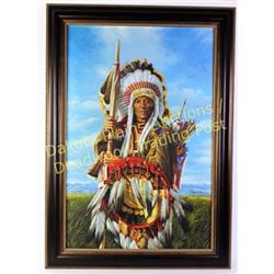 "Large canvas transfer of Plains Indian Chief unsigned, image 24"" X 36"", nicely framed.  Est. 450-900"