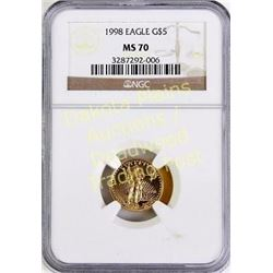 1998 Eagle Gold $5 MS 70. Est. 125-275