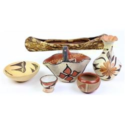 Collection 6 includes 5 vintage Southwest pottery items, early Santo Domingo handled basket bowl and