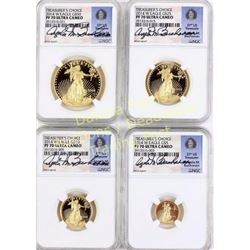 Set of 4 2014 gold Treasurer's Choice American Eagle $50, $25, $10 and $5 PF 70 Ultra Cameo.  Est. 2