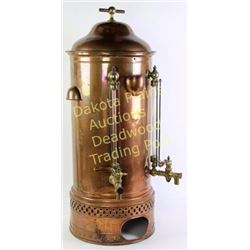 "Antique copper coffee urn with original stoneware insert for 1 1/2 gallons, 35"" tall, excellent exam"