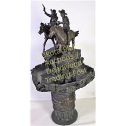 "Large Western cowboy electric water fountain resin cast standing 63"" tall depicting two cowboys on h"