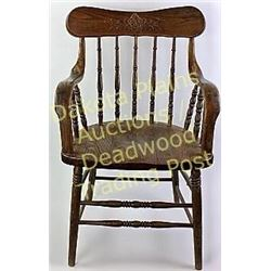 Matching antique oak armchairs with pressed spindle backs and bentwood arms, both very good solid co