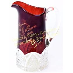 1908 Ruby flashed glass pitcher with inscription Greeting from Melbourne 1908. Above average size in