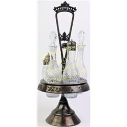 Victorian 5 bottle cruet set in silverplate frame unpolished with all matching pieces including stop