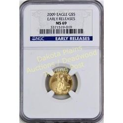 2009 Eagle Gold $5 Early Release MS69. Est. 75-150