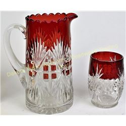 Collection of 2 beautiful ruby flashed piece including large tankard pitcher in desirable Majestic p